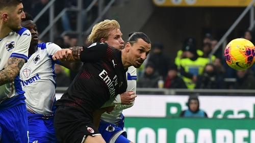 Zlatan Ibrahimovic in action against Sampdoria