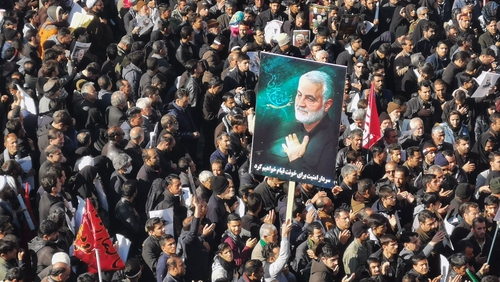 Mourners gathered for the burial of top general Qasem Soleimani in his hometown Kerman