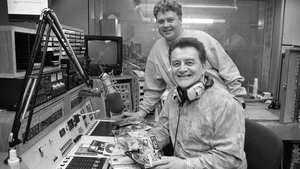 Larry Gogan and his son, Gerry, at RTÉ Radio Centre, 1993