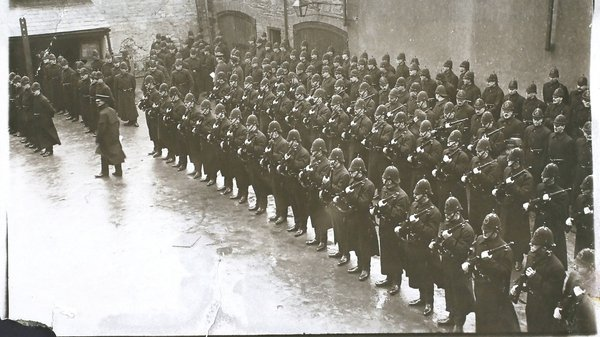 Members of the Royal Irish Constabulary being inspected before duty at the Derry by-election in 1913. Photo: Hulton Archive/Getty Images