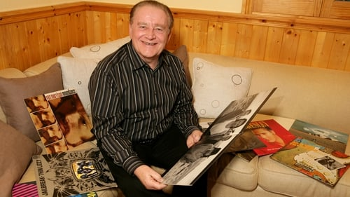 Larry pictured at home in Templeogue in 2005 with a selection of his favourite records