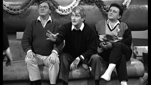 Broadcaster Donncha Ó Dúlaing, comedian Dermot Morgan and Larry Gogan pictured on the Play the Game show in 1987