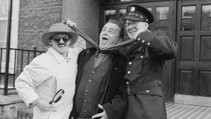Brendan O'Carroll, Larry Gogan and Gerry Browne pictured at the launch of Northside Blues in 1997