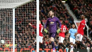 David De Gea and Aaron Wan-Bissaka react to Manchester City's third goal at Old Trafford