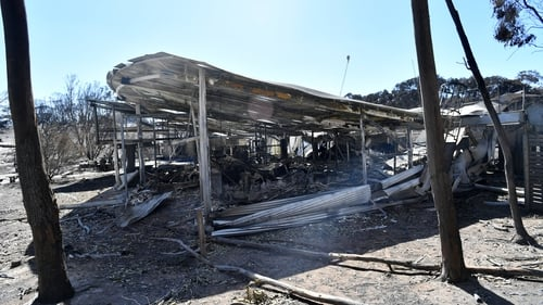 What is left of the Flinders Chase Visitors Office after bushfires swept through Kangaroo Island