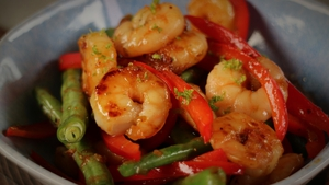 Sticky Honey & Garlic Prawns