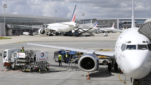 Plane landed at Charles de Gaulle airport in Paris this morning