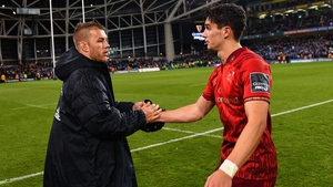 Joey Carbery, right, has been ruled out for between two and four months following surgery on damaged ligaments in his wrist