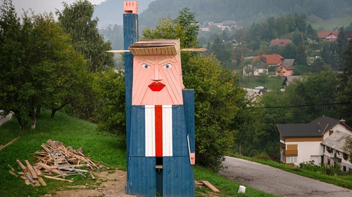 The wooden structure made to resemble US President Donald Trump - before it was burned
