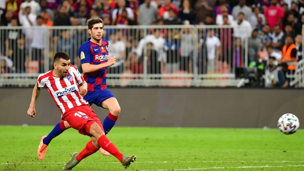 Atletico Madrid's Angel Correa scores the winner to set up a Spanish Super Cup final against Real Madrid at King Abdullah Sports City on Sunday