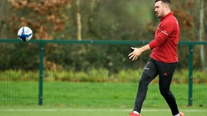 JJ Hanrahan during Munster Rugby training on Thursday
