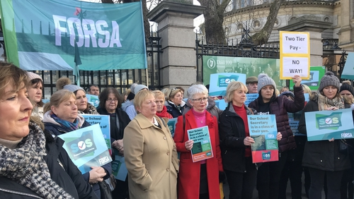 School secretaries staged a protest outside the Dáil earlier this month