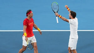 Rafael Nadal and Pablo Carreno Busta celebrate their success over Sander Gille and Joran Vliegen