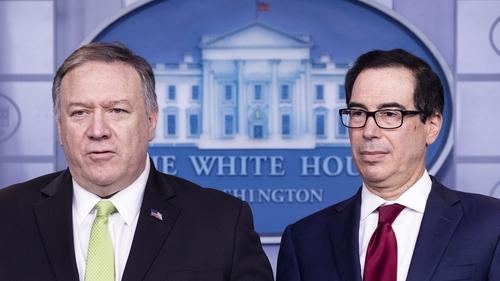 US Secretary of State Mike Pompeo (L) and Treasury Secretary Steven Mnuchin