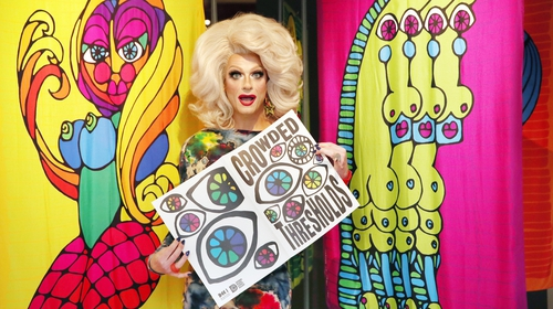 Special guest Panti Bliss pictured beside a piece by artist Niall Sweeney at the opening of Crowded Thresholds