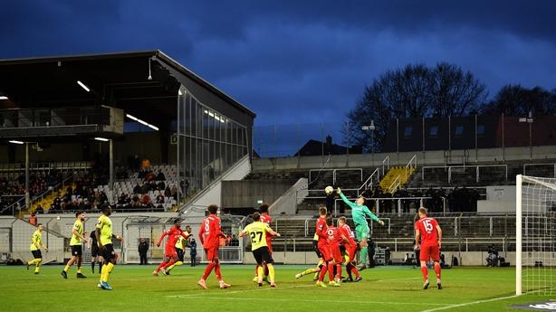 Christian Fruechtl of Bayern Muenchen II defends after a corner during the 3. Liga match between Bayern Muenchen II and FC Wuerzburger Kickers at Stadion an der Gruenwalder Straße in December 2019