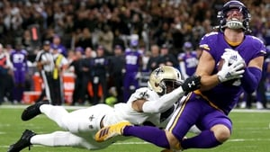 Adam Thielen had seven receptions for 129 yards in the win over the New Orleans Saints last Sunday