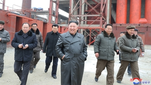 A photo released by the official North Korean Central News Agency shows Kim Jong-un visiting the Sunchon Phosphatic Fertiliser Factory under construction in Sunchon