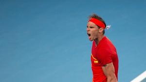 Rafael Nadal of Spain celebrates his victory over Alex De Minaur of Australia