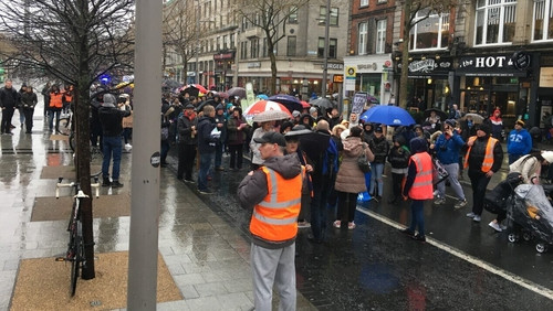 The protesters marched from Parnell Square to O'ConnellBridge