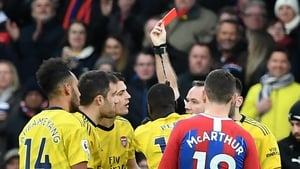 Aubameyang was red-carded following a VAR decision