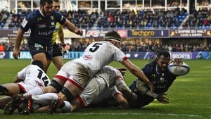 Clermont winger Alivereti Raka breaches the Ulster tryline