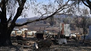 Fire damage in Tumburumba, Australia