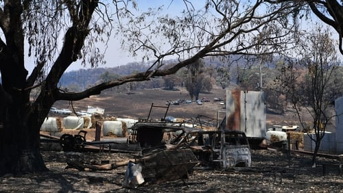 Fire damage in Tumburumba, Australia