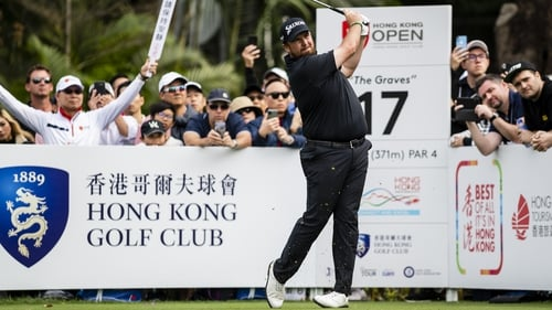 Shane Lowry of Ireland plays a shot during the final round of the Hong Kong Open