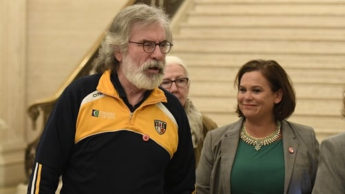Gerry Adams and Mary Lou McDonald at Stormont yesterday