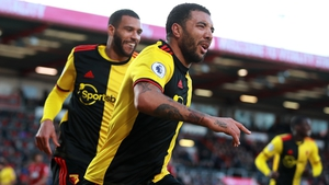 Troy Deeney (R) in action for Watford