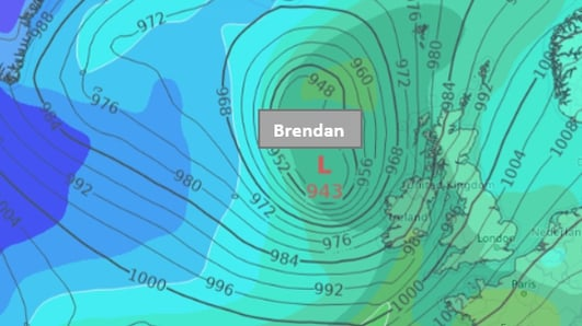 Winds near 100km/h as Storm Brendan hits west coast