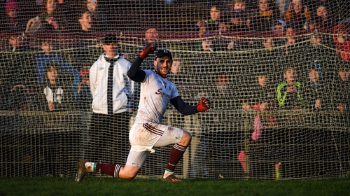 Galway goalkeeper Conor Gleeson celebrates after the last penalty