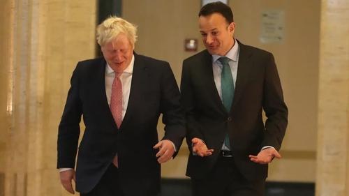 Bhí an Taoiseach, Leo Varadkar, agus Príomhaire na Breataine, Boris Johnson, ag cruinniú lena chéile in Stormont inniu