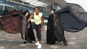 Coco Gauff poses with cast members from Harry Potter and the Cursed Child ahead of the 2020 Australian Open.