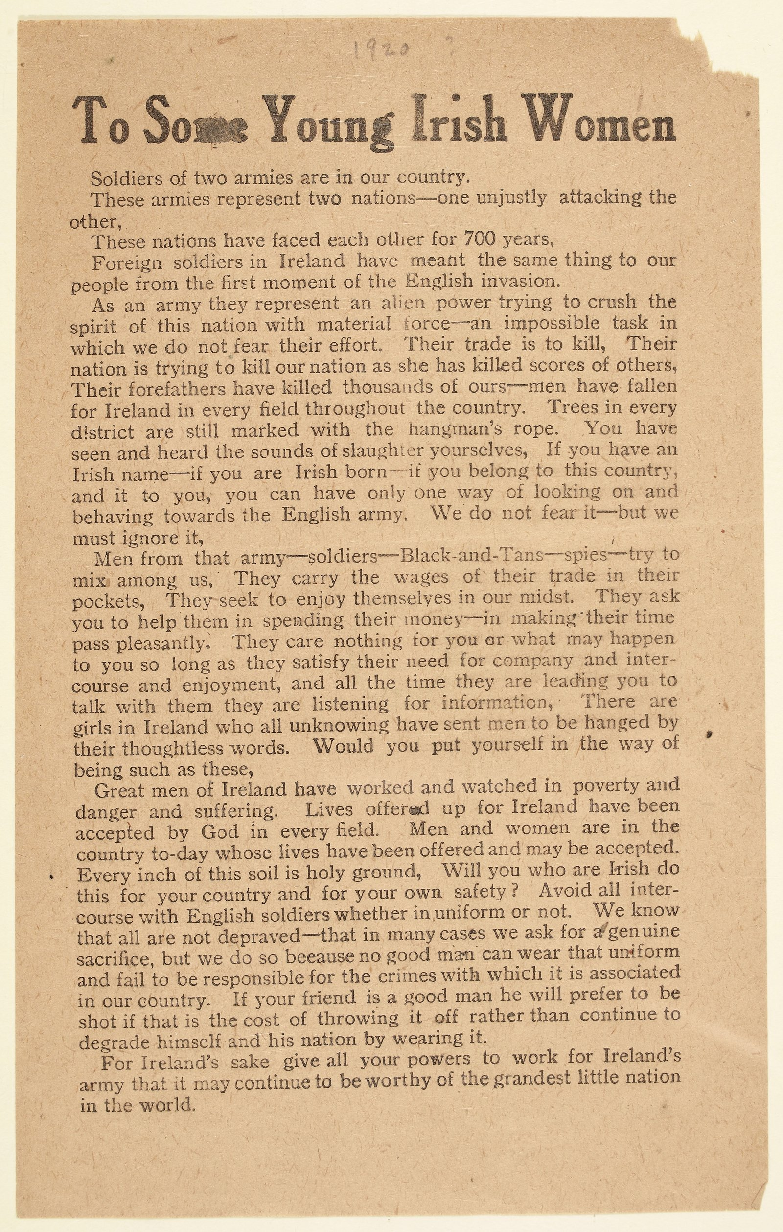 Image - Cumann na mBan 1920 leaflet urging young women not to consort with British forces (National Library)