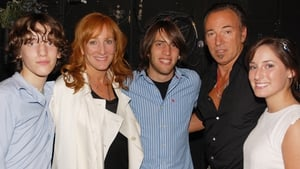 The Springsteen Family: Sam Ryan Springsteen, Patti Scialfa, Evan James Springsteen, Bruce Springsteen and Jessica Rae Springsteen pose backstage at Spring Awakening on Broadway at The Eugene O'Neill Theater on August 8, 2008 in New York City