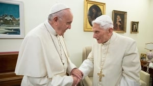 Pope Francis (L) with former pope Benedict in December 2018