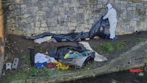 The man was sleeping in a tent on the banks of the Grand Canal