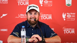 Shane Lowry of Ireland speaks to the media during a press conference ahead of the Abu Dhabi HSBC Championship