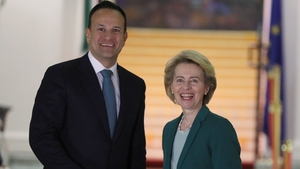 Ursula von der Leyen and Leo Varadkar outside Government Buildings this evening