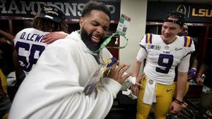 Odell Beckham Jr celebrates in the locker room with Louisiana State QB Joe Burrow (No 9)