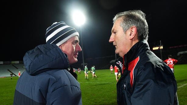 Limerick manager John Kiely, left, with Cork manager Kieran Kingston after the Co-Op Superstores Munster Hurling League Final
