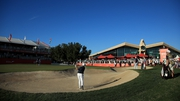 Shane Lowry plays the final hole in Abu Dhabi but ended up with a bogey which looks set to keep him out of the weekend
