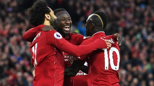 Naby Keita (centre), Mohamed Salah (L) and Sadio Mane will all miss a chunk of Liverpool's season