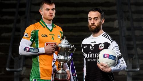 Corofin's Liam Silke, left, and Kilcoo's Conor Laverty ahead of Sunday's decider