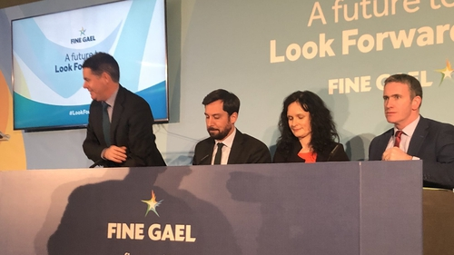 Eoghan Murphy and Paschal Donohoe at the launch of Fine Gael's party proposals on housing
