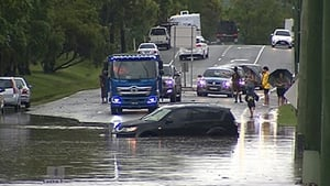 Rain is bucketing down in several areas across Victoria, New South Wales and Queensland