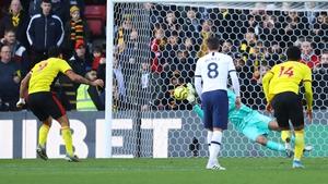 Paulo Gazzaniga saves Troy Deeney's penalty kick