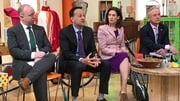 Fine Gael leader Leo Varadkar and party colleagues at a party event in Ballymun this morning